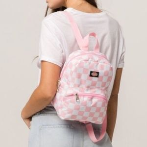 Pink & White Checkered Mini Backpack